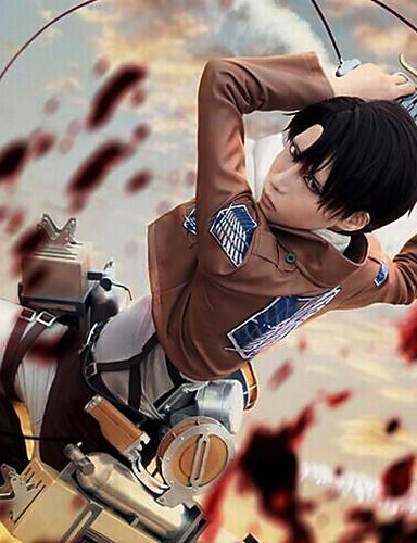 halpa Anime-asut-Innoittamana Attack on Titan levi ackerman Anime Cosplay-asut Cosplay Puvut Yhtenäinen Pitkähihainen Solmio / Takki / Pusero Käyttötarkoitus Miesten / Naisten