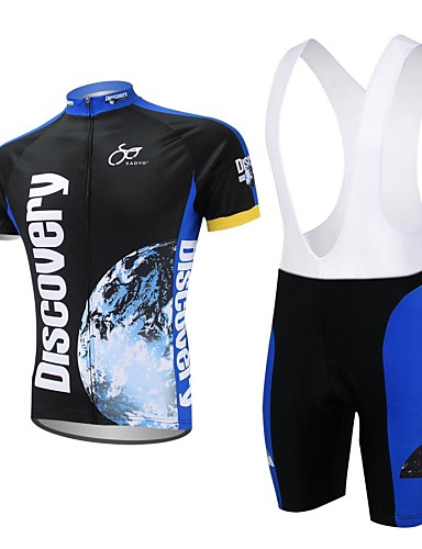 cheap Cycling Clothing-XAOYO Men's Short Sleeve Cycling Jersey with Bib Shorts - Dark Blue Bike Shorts Jersey Clothing Suit Quick Dry Back Pocket Sports Polyester Nature & Landscapes Clothing Apparel
