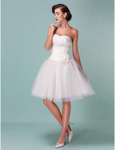 Ball Gown Sweetheart Neckline Knee Length Tulle Made-To-Measure Wedding Dresses with Sash / Ribbon / Flower / Criss-Cross by LAN TING BRIDE® / Little White Dress