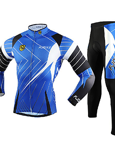 cheap Cycling Clothing-FJQXZ Men's Long Sleeve Cycling Jersey with Tights - Blue Bike Clothing Suit, Windproof, Breathable, 3D Pad, Thermal / Warm, Quick Dry Mesh Lines / Waves / Ultraviolet Resistant