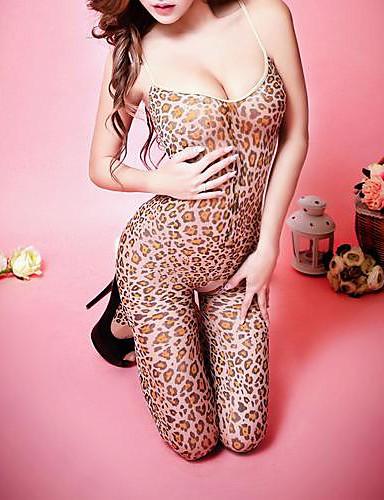 Damen Teddy Nachtwäsche - Druck, Leopard