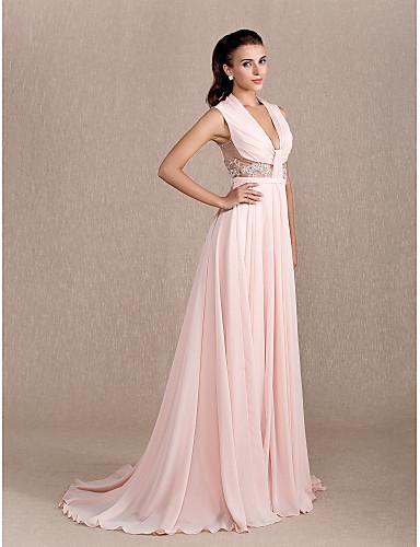 a324da63baa6 A-linje Prinsesse Hængende halsudskæring Hofslæb Chiffon Formel aften Galla  i kjole og hvidt Kjole