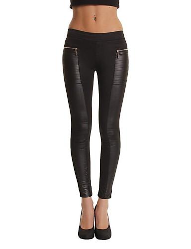 abordables Pantalons Femme-Femme Grossesse Quotidien Slim Skinny / Entreprise Pantalon - Couleur Pleine Coton Noir S M L / Sexy