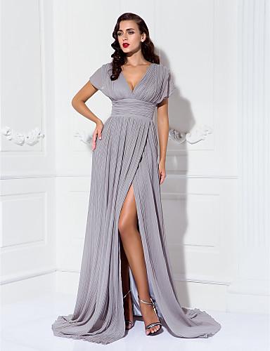 Kroj uz tijelo V izrez Jako kratki šlep Šifon Formalna večer Haljina s Nabrano / Falte po TS Couture®