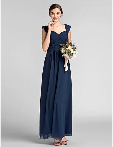 Ίσια Γραμμή Καρδιά Μακρύ Σιφόν Φόρεμα Παρανύμφων με Που καλύπτει Χιαστί με LAN TING BRIDE®