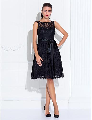 Linia -A / Mulată Iluzii Lungime Genunchi Dantelă Rochie Neagră Mică Petrecere Cocktail / Bal Rochie cu Dantelă / Eșarfă / Panglică de TS Couture®
