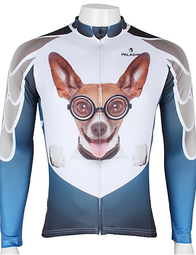 cheap Cycling Clothing-ILPALADINO Men's Long Sleeve Cycling Jersey - White+Sky Blue Animal Cartoon Bike Jersey Top Breathable Quick Dry Ultraviolet Resistant Sports 100% Polyester Mountain Bike MTB Road Bike Cycling