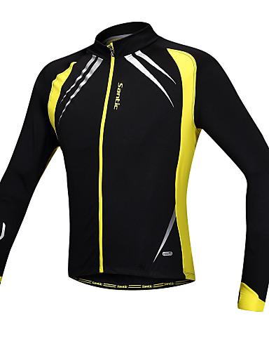 cheap Cycling Clothing-SANTIC Men's Cycling Jacket Bike Jacket / Jersey / Top Windproof, Fleece Lining, Breathable Patchwork Spandex, Fleece Winter Yellow / Black Advanced Mountain Cycling Semi-Form Fit Bike Wear Advanced