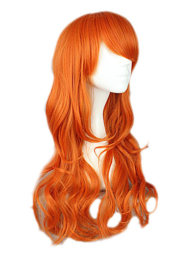 저렴한 코스플레이&코스튬-One Piece Nami 코스프레 가발 여성용 26 인치 열 저항 섬유 오렌지 에니메이션