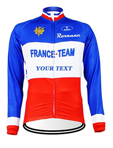 cheap Cycling Clothing-Customized Cycling Clothing Men's Women's Long Sleeve Cycling Jersey France National Flag Bike Jersey Breathable Waterproof Zipper Reflective Strips Polyester / High Elasticity / Mountain Bike MTB