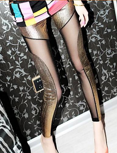 Dames PU Dun Kruiselings bewerkt Legging,Goud