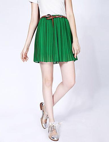Noua moda stil tot parcursul meciului chiffon plisat fusta scurta verde