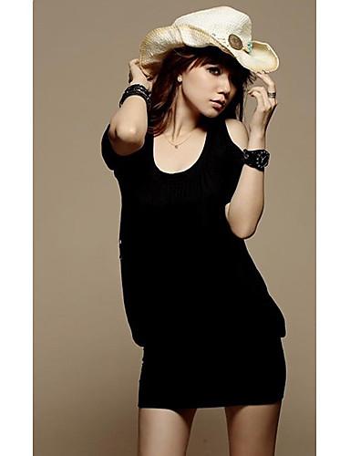 новый стиль Модное сексуальное круглым воротом топы черный