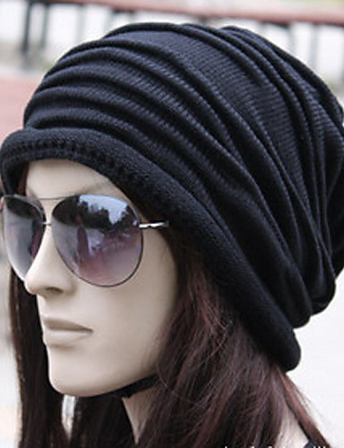 01d7525f37 Unisex Work Active Cotton Beanie / Slouchy-Solid Colored Pleated Winter  Black Gray Brown / Fabric