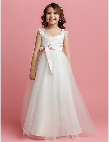 A-line etaj lungime flori rochie de fată - curele fără mâneci tul cu panglică de lan ting bride®