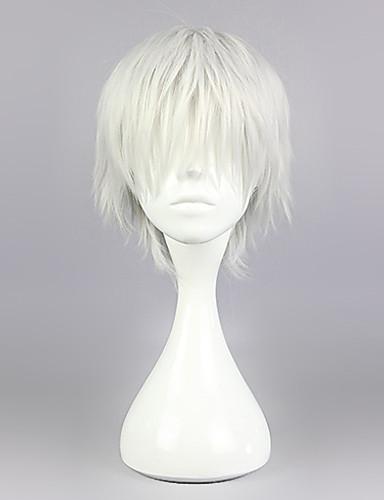 voordelige Cosplay Pruiken-Tokyo Ghoul Ken Kaneki Cosplaypruiken Heren 12 inch(es) Hittebestendige vezel Zilver Anime