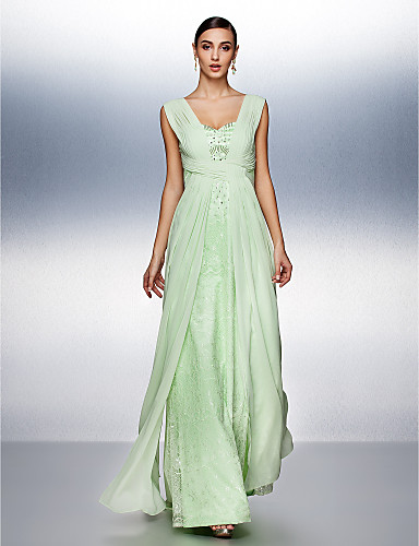A-Line Straps Floor Length Chiffon / Tulle Open Back Prom / Formal Evening Dress with Beading / Lace / Side Draping by TS Couture®