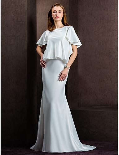 preiswerte Hochzeitskleider-Eng anliegend Schmuck Hof Schleppe Satin Maßgeschneiderte Brautkleider mit Knopf durch LAN TING BRIDE®