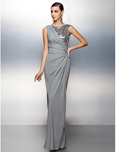 Eng anliegend Schmuck Boden-Länge Jersey Abiball / Formeller Abend Kleid mit Paillette Seitlich drapiert durch TS Couture®