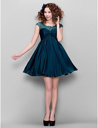 A-Linie Illusionsausschnitt Kurz / Mini Satin - Chiffon Cocktailparty / Abschlussball / Festtage Kleid mit Perlenstickerei Gerafft durch