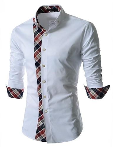 Effen-Informeel-Heren-Katoen / Polyester-Overhemd-Lange mouw-Blauw / Wit