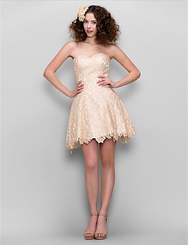 A-linje Kæreste Kort / mini Blondelukning Cocktailparty / Bal / Skolebal / Firmafest Kjole med Blonde ved TS Couture®