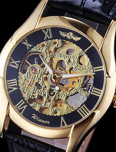 WINNER Masculino Relógio de Pulso relógio mecânico Automático - da corda automáticamente Gravação Oca Couro Banda Preta Dourado