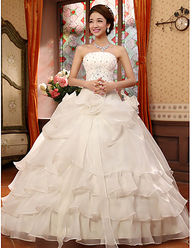 Ball Gown Strapless Floor Length Organza Wedding Dress with Beading Appliques Flower by Embroidered Bridal
