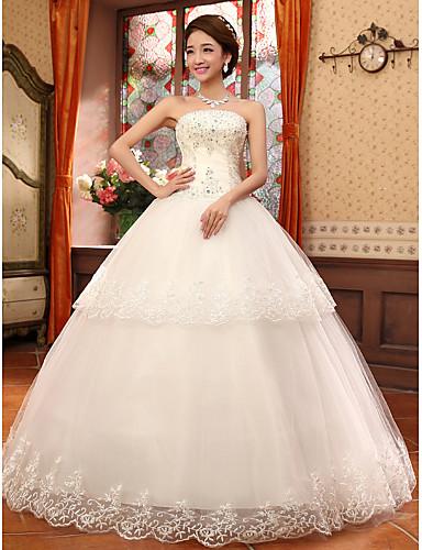 Βραδινή τουαλέτα Στράπλες Μακρύ Δαντέλα Νυφικό με Χάντρες Διακοσμητικά Επιράμματα Πιασίματα με Embroidered Bridal
