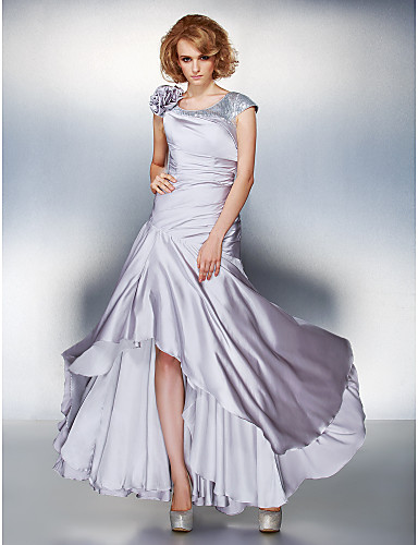 A-Line Scoop Neck Asymmetrical Satin Chiffon Mother of the Bride Dress with Sequin Flower Side Draping by LAN TING BRIDE®