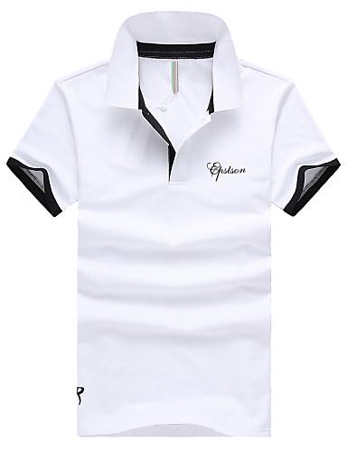 אחיד / אותיות צווארון חולצה רזה סגנון רחוב כותנה, Polo - בגדי ריקוד גברים / שרוולים קצרים