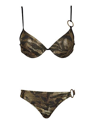 Női Tankini Bikini Nyomtatott Leopárd Vékony Divat Sexy Pántos