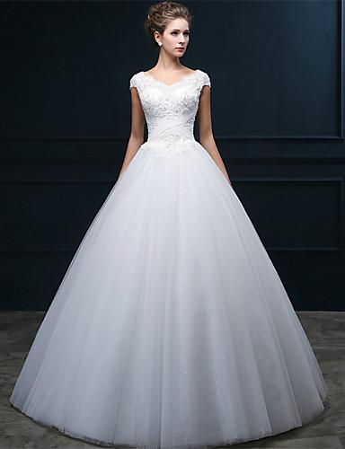 A-라인 V-넥 바닥 길이 튤 웨딩 드레스 와 비즈 진주 아플리케 크리스-크로스 으로 QQC Bridal