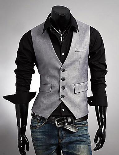 Erkek Polyester Kolsuz V-Yaka Solid Yelekler Günlük Çalışma-Erkek Kısa Paltolar