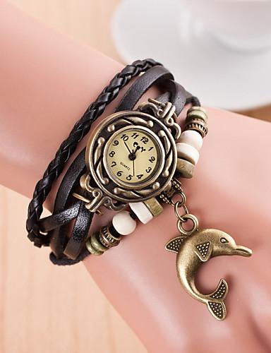 Damen damas Armbanduhr Quartz Armbanduhren für den Alltag Leder Band Charme Schwarz - Grün Hellblau Königsblau