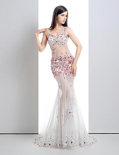 Kolacja oficjalna Sukienka - Prześwitujące Syrena Wcięcie V Tren w stylu sądowym Koronka / Tiul z Dodatki kryształowe / Koronka