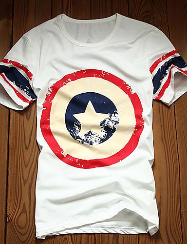 T-Shirt Męski-Na co dzień-Nadruk-Bawełna / Lycra-Krótki rękaw-Niebieski / Biały