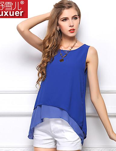Bayanlar Yarı Saydam Kolsuz Tüm Mevsimler Solid Sade Günlük/Sade Mavi / Beyaz / Sarı-Bayanlar Tişört