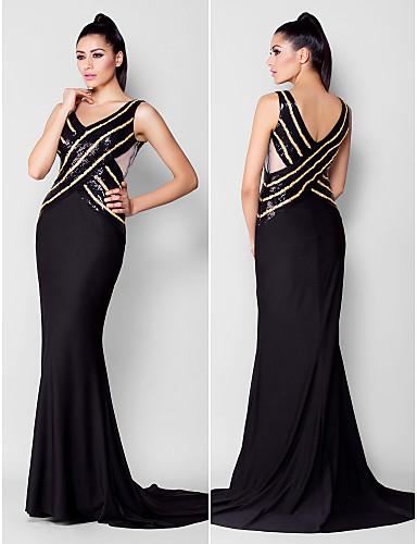 Trompetă / Sirenă Gât V Trenă Court Paiete Tricot Seară Formală Gală Elegantă Rochie cu Mărgele Paiete de TS Couture®