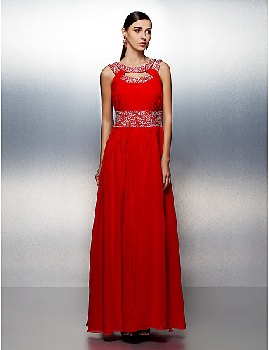 A-Line Jewel Neck Floor Length Chiffon Prom / Formal Evening Dress with Beading Draping Sash / Ribbon by TS Couture®