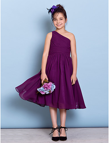 A-Line One Shoulder Tea Length Chiffon Junior Bridesmaid Dress with Side Draping Criss Cross by LAN TING BRIDE®