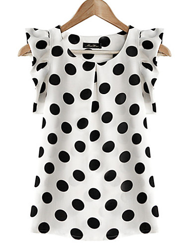 Women's Casual Plus Size Butterfly Sleeve Blouse - Polka Dot, Ruffle