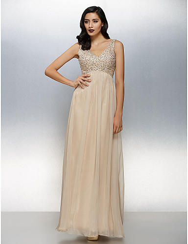 A-Line V Neck Floor Length Chiffon Formal Evening Dress with Beading by TS Couture®
