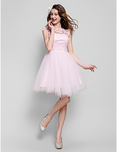 cheap Prom Dresses-Ball Gown Illusion Neck Short / Mini Tulle Cocktail Party / Prom Dress with Beading / Appliques by TS Couture®