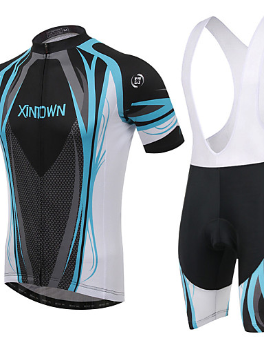 cheap Cycling Clothing-XINTOWN Men's / Women's Short Sleeve Cycling Jersey with Bib Shorts - Red / Blue Plus Size Bike Padded Shorts / Chamois / Clothing Suit, Breathable, 3D Pad Curve / High Elasticity