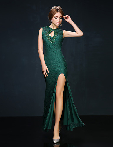 Mermaid / Trumpet High Neck Ankle Length Lace Charmeuse Prom Formal Evening Dress with Beading Lace by Huaxirenjiao