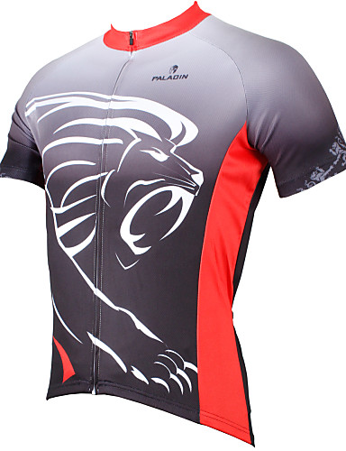 cheap Cycling Clothing-ILPALADINO Men's Short Sleeve Cycling Jersey Grey Animal Lion Bike Jersey Top Breathable Quick Dry Ultraviolet Resistant Sports Polyester 100% Polyester Terylene Mountain Bike MTB Road Bike Cycling