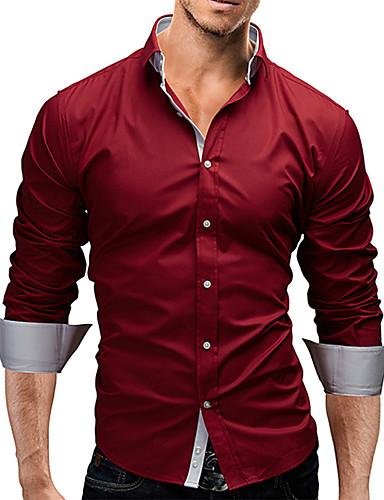 Men's Casual/Work/Formal/Plus Sizes Striped/Pure Long Sleeve Regular Shirt (Cotton)