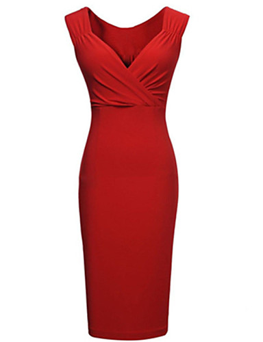 abordables Robes Femme-Femme Soirée Mi-long Moulante Robe Couleur Pleine V Profond Rouge Eté Noir Rouge M L XL Sans Manches / Mince