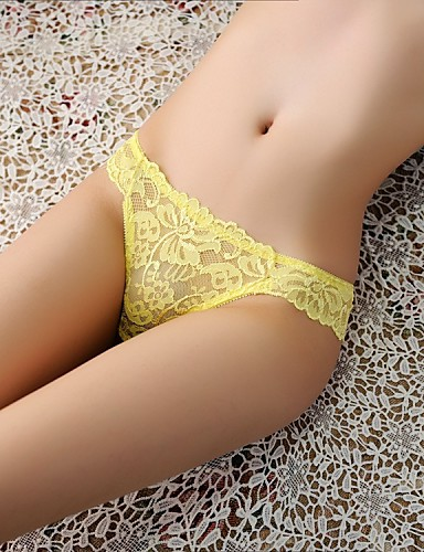 Women's Jacquard G-strings & Thongs Panties Ultra Sexy Panties Cotton Nylon Lace Beige Yellow Fuchsia Red Royal Blue